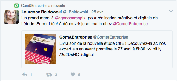 """Tweet extrait : """"Un grand merci à agencecreapix pour réalisation créative et digitale de l'étude. Super idée!"""""""